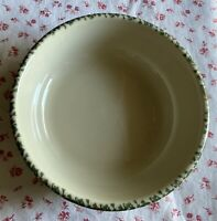 Vintage Henn Pottery Green Spongeware Ribbed Salad Soup Bowl Dish 6.5""