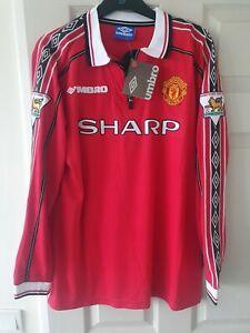 Manchester United 1998-2000 Treble shirt w/ Beckham 7 printing (BNWT)
