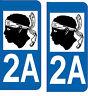 Département 20 sticker 2 autocollants style immatriculation AUTO PLAQUE 2A Corse