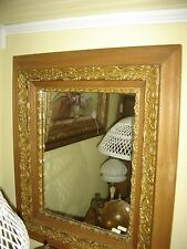 Antique 4-Part Oak & Gesso Frame with Mirror. could be used with print 7756