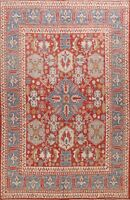 RED Vegetable Dye Geometric Khotan Oriental Area Rug Hand-knotted 8x10 ft Carpet