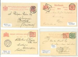 DUTCH INDIES NED INDIE-1908/11 4 x PS CARD GR POSTMARKS - SvL 130 P. --F/VF