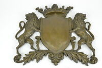 Royal Crest Coat of Arms Bronze Plaque Lions Shield Statue Sculptur Art Deco LRE