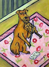 irish terrier playing the violin fiddle dog art print gift gifts 8x10