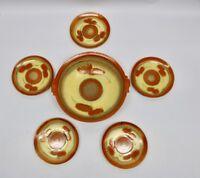 Art Deco Steuler Keramik Schale mit 5 Teller