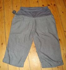 BNWT MATERNITY Grey Twill Cropped Cotton Trousers Size 12