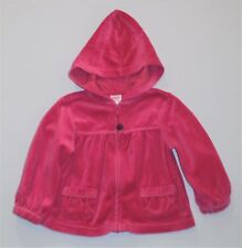 "Gymboree ""Fall Forest"" Pickstitch Pink Zip Front Hooded Velour Jacket, 18-24 mos"