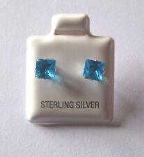 5mm Quadrat Prinzess Schliff blauer Zirkonia Cubic Sterling Silber Ohrstecker