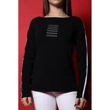 armani Jeans maglia cotone taglia 46 manica lunga nero shirt stampa rilievo