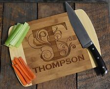 Custom Laser Engraved Monogrammed  Bamboo Wood Cutting Board