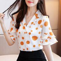 Chiffon Shirt Women Summer New Bell Short Sleeve Dot Business Office Blouse Tops