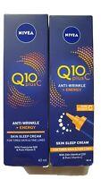 x2 NIVEA Q10 Plus C Anti-Wrinkle + Energy Eye Creams 40ml Each New & Boxed