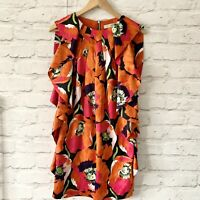 TED BAKER Dress Size 6 ORANGE | SMART Occasion WEDDING Cruise RACES FLORAL SILK