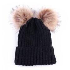 Mom&Newborn Baby Boy Girls Winter Warm Double Fur Pom Bobble Knit Beanie Hat Cap