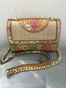AUTHENTIC NEW TORY BURCH FLEMING PRINTED STRAW SMALL CONVERTIBLE SHOULDER BAG