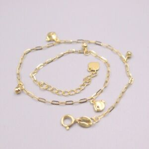 Fine  Pure Au750 18Kt Yellow Gold Chain Women Square O Link Bead Anklets 1.7-2g