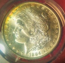 1884 O Morgan SILVER RARE GEM PCGS MS63 Beauty!! Amazing PL!! RAINBOW TONED! WOW
