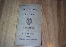 Singer Sewing Machine Price List Of Parts For Machines Class 28W  HB ILLUS 1913