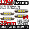 4x ERROR FREE CANBUS 3 SMD LED 39mm 239 272 C5W XENON WHITE NUMBER PLATE BULB UK