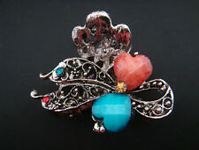 """Heart hair clip clamp claw 2"""" antiqued silver metal blue orange crystals"""