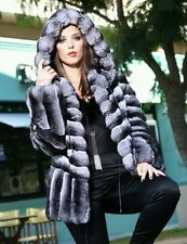 EMPRESS CHINCHILLA HOODED JACKET COAT PARKA TOP QUALITY HOOD DRAWSTRING NEW WOW