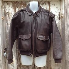 Lands End Leather Bomber Aviator Pilot Fly Flight Jacket Coat 38 40 R USA Made