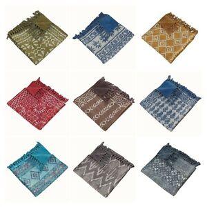 Indian Hand Block Print Carpet Hand Loomed Cotton Kilim Reversible Rug 36x60inch
