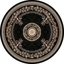 "BLACK FRENCH ORIENTAL AREA RUG 8X8 ROUND PERSIAN 023 - ACTUAL 7' 10"" x 7' 10"""