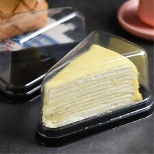 2/4/10X Clear Plastic Triangular Cake Pastry Cheese Pot Pod Lid Container Boxes