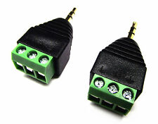 From OZ Quality 2PC Speaker Screw Down Post 3P To Stereo 3.5mm Male Plug Adaptor