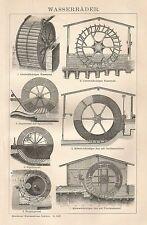 B0442 Mulini ad acqua - Xilografia d'epoca - 1903 Vintage engraving