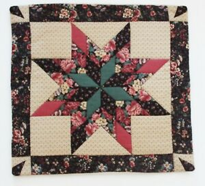 Vintage Handmade Cushion Cover, Star Shape Design, Quilted and Appliqued, 40 cms