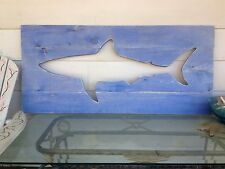 Large 4 foot shark wall hanging with blue stained distressed boards art