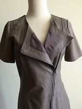 My Tribe NWT $399 Taupe Leather Front Asymetrical Zip Coat Dress Sz XS/S-Current