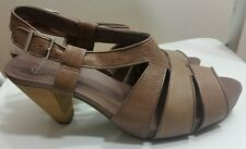 CLARKS Womens Sandals Sz 8 41 Brown Retro Shoes Ankle Strap Wood High Heel Italy