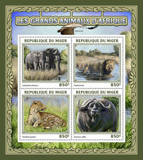 Niger 2016 MNH Big Wild Animals of Africa  4v M/S Elephants Lions Leopard Stamps