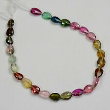 """Pink Green Blue Yellow Tourmaline Faceted Pear Briolette Bead 7.7"""" Strand"""