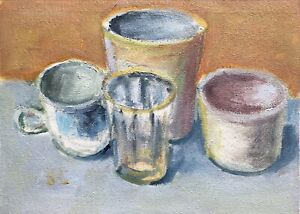 Still Life with Mugs and Glass original oil painting Impressionism