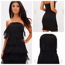 Black Dress Sz 8 Tassel Bandeau BodyCon Pretty Little Thing Party Club