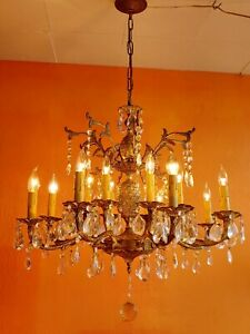 Antique 16 light 8 arms Double Pineapple  Spanish Brass Chandelier