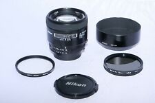 Nikon NIKKOR-AF 85mm f/1.8 FAST telephoto lens. HN-24 Hood. Filter. Great BOKEH