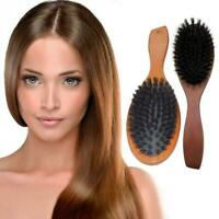 Wooden Hairbrush Boar Bristle Natural Massage Comb Beech Handle Hair Brush U6Y6