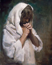 Morgan Weistling THY WILL BE DONE - 20x16 double matted art print, Jesus Praying