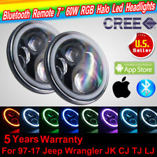 "2X 7"" RGB Round LED Headlights Halo Wireless SmartPhone Color Changing Angel Eye"