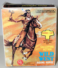 INDIAN WIND UP WILD WEST GALLOPING RIDING HORSE IN BOX HONG KONG TOY FIGURE