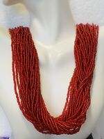Circa Mid 1900's Vintage Ruby Red Multi strand Seed Bead Necklace tassel clasp