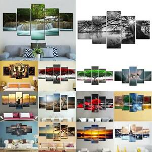 5 Panels  Unframed Modern Canvas Art Painting Picture Room Wall Hanging Photo AU