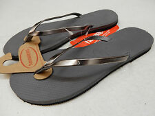 HAVAIANAS WOMENS SANDALS YOU METALLIC STEEL GREY SIZE 6