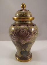 "Chinese Cloisonne Jar Urn Purple Violet Chrysanthemum Flowers China 4 3/8"" tall"