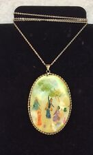 Vintage Hand Painted 2 Sides Abalone Shell MOP Pendant Necklace Asian Scene NS